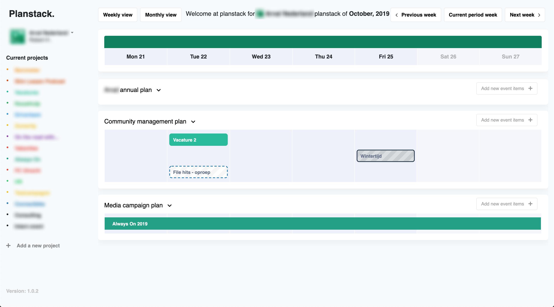Screenshot van Planstack frontend